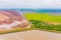 Paesaggio industriale, paesaggio aereo Ecologia in campagna immagine stock