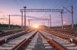 Paesaggio industriale con la giunzione della ferrovia Fotografia Stock Libera da Diritti