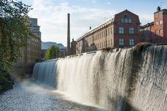 Paesaggio industriale Norrkoping delle vecchie fabbriche Immagine Stock