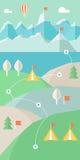 Paesaggio Infographics Montagne, lago e colline facenti un'escursione itinerario Fotografia Stock Libera da Diritti