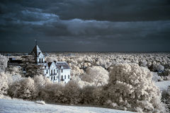 Paesaggio infrarosso unico beautioful sbalorditivo con colore falso Fotografia Stock Libera da Diritti