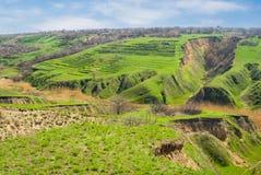 Paesaggio iniziale della sorgente con erosione di terreno Fotografia Stock Libera da Diritti