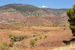 Paesaggio intorno al EL-Ouidane del recipiente della diga Immagini Stock