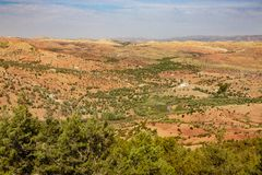 Paesaggio intorno al EL-Ouidane del recipiente della diga Fotografia Stock Libera da Diritti