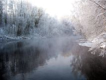 Paesaggio invernale del fiume Immagini Stock