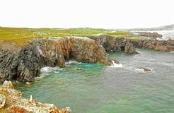 Paesaggio irregolare della costa di mare Parco provinciale del torrione Terranova, Canada fotografie stock