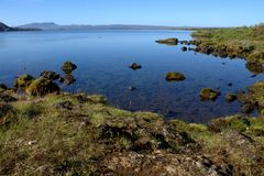 Paesaggio islandese con il lago Thingvallavatn in Thingvellir Fotografie Stock