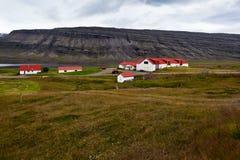 Paesaggio islandese della natura con le montagne e le abitazioni Immagine Stock Libera da Diritti