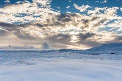 Paesaggio islandese di Snowy fotografie stock libere da diritti