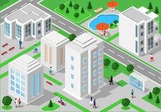 Paesaggio isometrico con la gente, le costruzioni della città, le strade, i parchi, gli hotel e la piscina Insieme delle costruzi royalty illustrazione gratis
