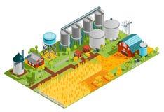 Paesaggio isometrico dei fabbricati agricoli royalty illustrazione gratis