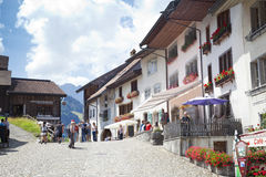 Paesaggio italiano di estate di Mont Blanc del lato Mont Blanc è il più alto picco delle alpi occidentali europee Fotografie Stock Libere da Diritti
