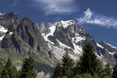Paesaggio italiano di estate di Mont Blanc del lato Mont Blanc è il più alto picco delle alpi occidentali europee Fotografie Stock