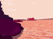 Paesaggio, lago con gli alberi, erba, pietre nelle siluette del cielo Immagine Stock Libera da Diritti