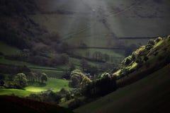 Paesaggio leggero della valle di mattina Immagine Stock