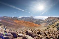 Paesaggio luminoso insolito dalla cima di vulcan fotografie stock