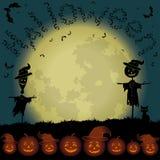 Paesaggio, luna e zucche di Halloween Immagini Stock Libere da Diritti