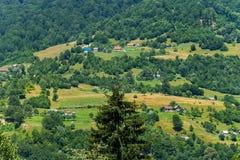 Paesaggio lussuoso di bella area montagnosa con le case caotiche e della natura pittoresca con una pianta gloriosa immagine stock