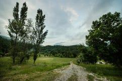 Paesaggio maestoso delle montagne e del prato Strada di riciclaggio della montagna Strada della montagna nebbiosa in alte montagn Fotografie Stock Libere da Diritti