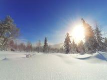 Paesaggio maestoso di inverno che emette luce dalla luce solare di mattina immagini stock libere da diritti