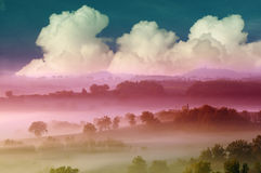 Paesaggio magico del paese Fotografia Stock Libera da Diritti
