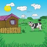 Paesaggio a mano libera di tiraggio di vita rurale Immagine Stock
