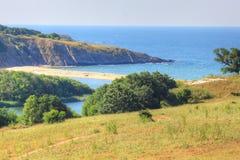Paesaggio marino della costa di Mar Nero del bulgaro fotografie stock