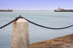 Paesaggio marino a passeggiata di porto Immagini Stock Libere da Diritti