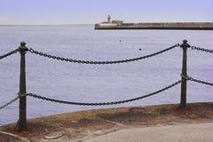 Paesaggio marino a passeggiata di porto Fotografie Stock
