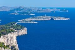 Paesaggio mediterraneo - isole di Kornati Fotografie Stock
