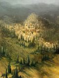 Paesaggio mediterraneo verniciato Immagine Stock