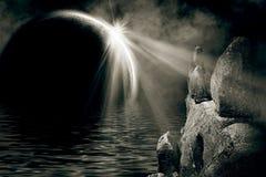 Paesaggio mistico di notte illustrazione vettoriale