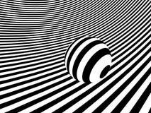 Paesaggio monocromatico a strisce con la sfera Immagini Stock Libere da Diritti