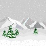 Paesaggio, montagna e foresta di inverno nel vettore Fotografia Stock