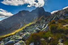 Paesaggio in montagne europee, alto Tatras, Slovacchia, Europa centrale, mondo di bellezza, fondo del paesaggio della carta da pa fotografie stock