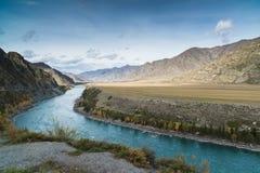 Paesaggio montagnoso di estate con un fiume del turchese Fotografia Stock