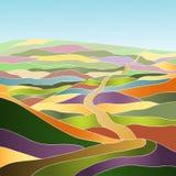 Paesaggio multicolore di estate Illustrazione Vettoriale