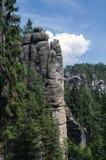 Paesaggio in natura del cittadino di Adrspach-Teplice di formazioni rocciose Fotografia Stock