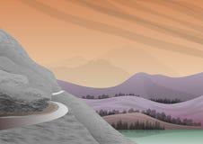 Paesaggio naturale con le montagne e lago di calma e di acque di rinfresco illustrazione vettoriale