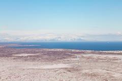 Paesaggio naturale dell'Islanda di vista aerea Immagine Stock