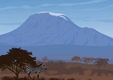 Paesaggio naturale della savanna africana Illustrazione di vettore illustrazione di stock