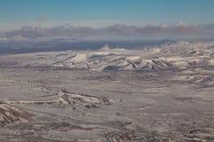 Paesaggio naturale di inverno della montagna dell'Islanda di vista aerea Immagine Stock