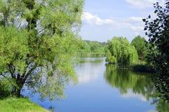 Paesaggio naturale, fiume, cielo nuvoloso, campagna Immagini Stock Libere da Diritti