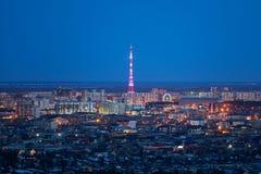 paesaggio naturale in Jakutsk, Yakutia di notte fotografia stock libera da diritti