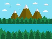 Paesaggio naturale nello stile semplice piano con le montagne royalty illustrazione gratis