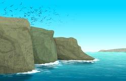 Paesaggio naturale vicino alla costa di mare Illustrazione Vettoriale