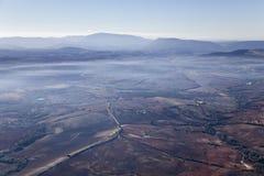 Paesaggio nebbioso aereo vicino a Ronda. Immagini Stock