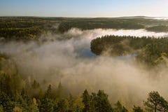 Paesaggio nebbioso del lago Fotografia Stock
