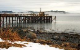 Paesaggio nebbioso del mare Immagine Stock
