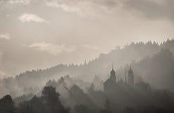 Paesaggio nebbioso della città Immagini Stock